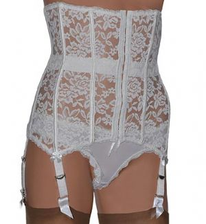 6 Strap Boned Lace Waspie Suspender Belt in White or Black